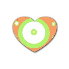 Green And Orange Design Rubber Coaster (heart)  by Valentinaart