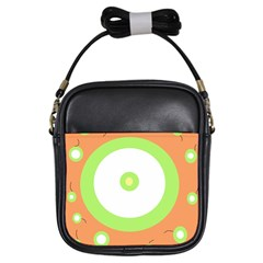 Green And Orange Design Girls Sling Bags by Valentinaart