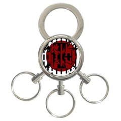 Red, Black And White Decorative Abstraction 3 Ring Key Chains by Valentinaart