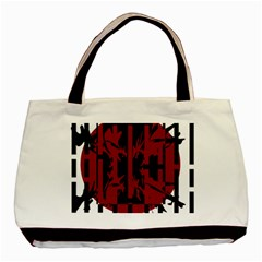 Red, Black And White Decorative Abstraction Basic Tote Bag (two Sides) by Valentinaart