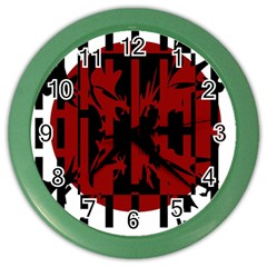 Red, Black And White Decorative Abstraction Color Wall Clocks by Valentinaart