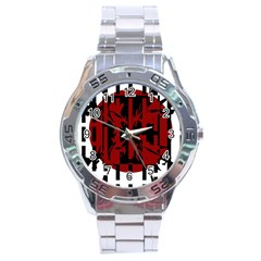 Red, Black And White Decorative Abstraction Stainless Steel Analogue Watch by Valentinaart