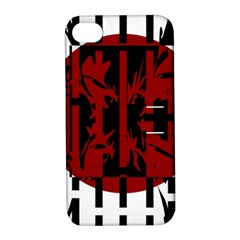 Red, Black And White Decorative Abstraction Apple Iphone 4/4s Hardshell Case With Stand by Valentinaart