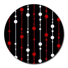 Red Black And White Pattern Round Mousepads by Valentinaart