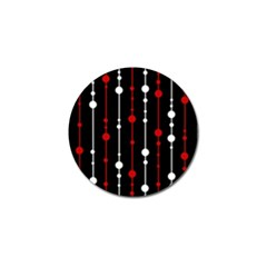 Red Black And White Pattern Golf Ball Marker by Valentinaart