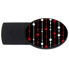 Red Black And White Pattern Usb Flash Drive Oval (2 Gb)  by Valentinaart