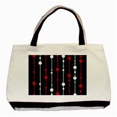 Red Black And White Pattern Basic Tote Bag by Valentinaart