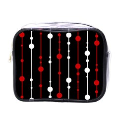 Red Black And White Pattern Mini Toiletries Bags by Valentinaart
