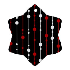 Red Black And White Pattern Snowflake Ornament (2 Side) by Valentinaart
