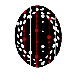 Red Black And White Pattern Oval Filigree Ornament (2 Side)  by Valentinaart