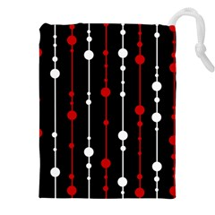Red Black And White Pattern Drawstring Pouches (xxl) by Valentinaart