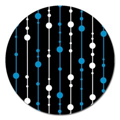 Blue, White And Black Pattern Magnet 5  (round) by Valentinaart