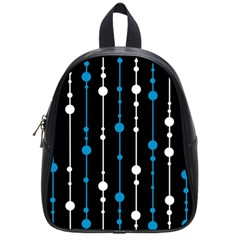Blue, White And Black Pattern School Bags (small)  by Valentinaart