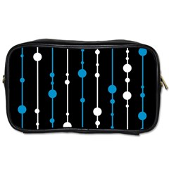Blue, White And Black Pattern Toiletries Bags 2 Side by Valentinaart