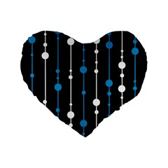 Blue, White And Black Pattern Standard 16  Premium Flano Heart Shape Cushions