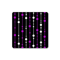 Purple, Black And White Pattern Square Magnet by Valentinaart