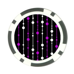Purple, Black And White Pattern Poker Chip Card Guards by Valentinaart
