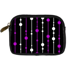 Purple, Black And White Pattern Digital Camera Cases by Valentinaart