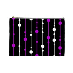 Purple, Black And White Pattern Cosmetic Bag (large)  by Valentinaart