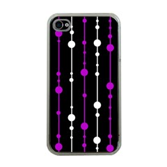 Purple, Black And White Pattern Apple Iphone 4 Case (clear) by Valentinaart
