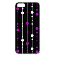 Purple, Black And White Pattern Apple Seamless Iphone 5 Case (clear) by Valentinaart