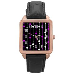Purple, Black And White Pattern Rose Gold Leather Watch  by Valentinaart
