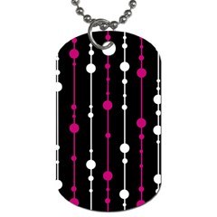 Magenta White And Black Pattern Dog Tag (one Side) by Valentinaart