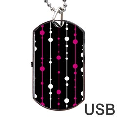 Magenta White And Black Pattern Dog Tag Usb Flash (one Side) by Valentinaart