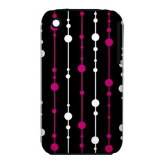 Magenta White And Black Pattern Apple Iphone 3g/3gs Hardshell Case (pc+silicone) by Valentinaart