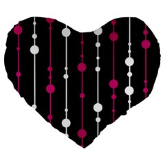 Magenta White And Black Pattern Large 19  Premium Flano Heart Shape Cushions by Valentinaart