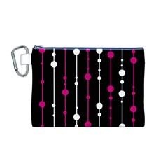 Magenta White And Black Pattern Canvas Cosmetic Bag (m) by Valentinaart