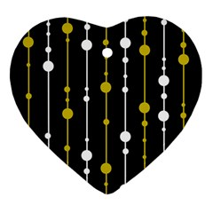 Yellow, Black And White Pattern Ornament (heart)  by Valentinaart