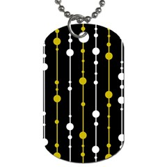 Yellow, Black And White Pattern Dog Tag (two Sides) by Valentinaart