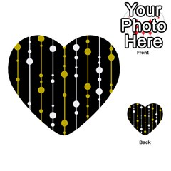 Yellow, Black And White Pattern Multi Purpose Cards (heart)  by Valentinaart