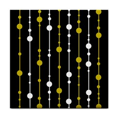 Yellow, Black And White Pattern Face Towel by Valentinaart
