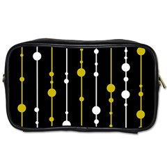 Yellow, Black And White Pattern Toiletries Bags 2 Side by Valentinaart