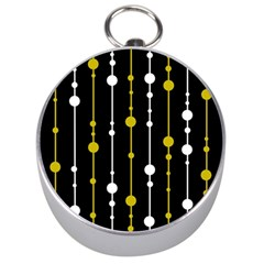 Yellow, Black And White Pattern Silver Compasses by Valentinaart