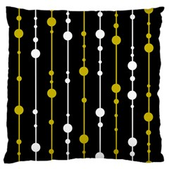 Yellow, Black And White Pattern Large Flano Cushion Case (one Side) by Valentinaart