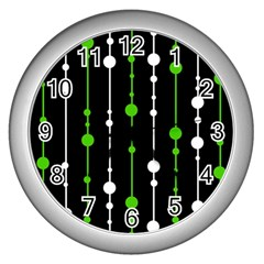 Green, White And Black Pattern Wall Clocks (silver)  by Valentinaart