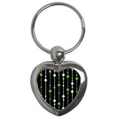 Green, White And Black Pattern Key Chains (heart)  by Valentinaart