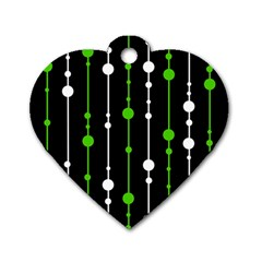 Green, White And Black Pattern Dog Tag Heart (two Sides) by Valentinaart