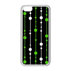 Green, White And Black Pattern Apple Iphone 5c Seamless Case (white) by Valentinaart
