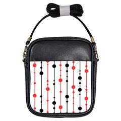 Red, Black And White Pattern Girls Sling Bags by Valentinaart