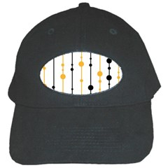 Yellow, Black And White Pattern Black Cap by Valentinaart