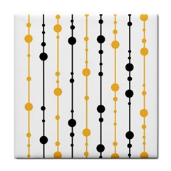 Yellow, Black And White Pattern Tile Coasters by Valentinaart