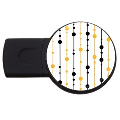 Yellow, Black And White Pattern Usb Flash Drive Round (4 Gb)  by Valentinaart