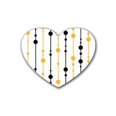 Yellow, Black And White Pattern Rubber Coaster (heart)  by Valentinaart