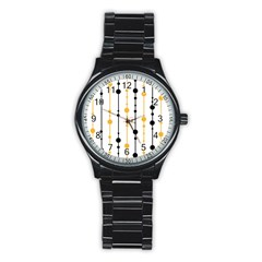 Yellow, Black And White Pattern Stainless Steel Round Watch by Valentinaart