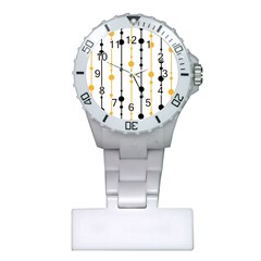 Yellow, black and white pattern Plastic Nurses Watch by Valentinaart