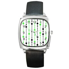 Green Pattern Square Metal Watch by Valentinaart